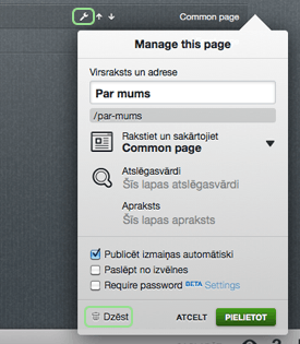 Delete page - site organiser