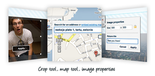 Crop tool, map tool, image properties